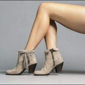 Sam Edelman Louie Ankle Fringe Boot Taupe Suede